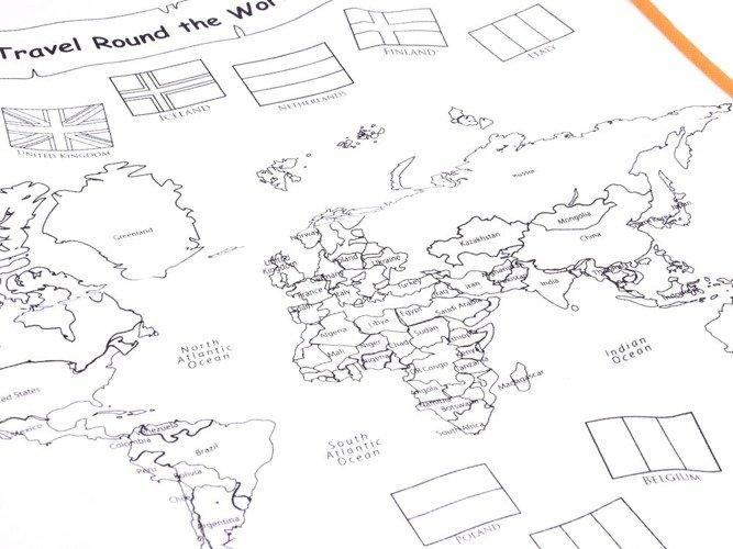 Kolorowanka Zmywalna Mapa Swiata Pisaki