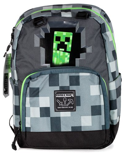 f23f73e22b888 Plecak szkolny Minecraft CREEPERS szary - 44 cm